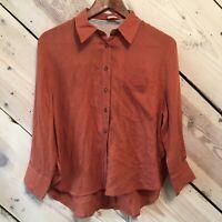 Free People Women's Size XS Long Sleeve Button Down Blouse Top Orange Oversized