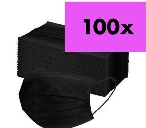 100 Stück OP Schutz-Masken Mundschutz-Masken 3 Lagig Einwegmaske Schwarz-Maske 0