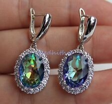 18K White Gold Filled - Noble Oval MYSTICAL Rainbow Topaz Cocktail Drop Earrings