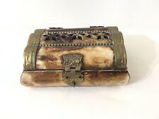 Vintage Ornate Bone & Brass SUDHA Lidded Trinket Box India Hinged Lid