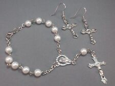 Pocket Rosary Earrings Travel Auto 1 Decade Faux PEARL Bead Silver Tone Medals