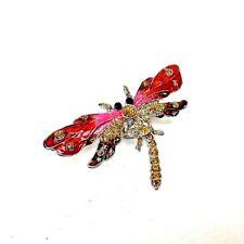 Dragonfly Magnet 3D Refrigerator Decoration Enamel Painted Metal Red Pink