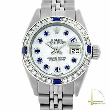 Rolex Lady Datejust Watch Steel White MOP Blue Sapphire Dial Diamond Bezel 26mm