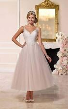 Short wedding dress white ivory brides tea knee length lace straps champagne