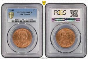 New Zealand 1943 1d penny pcgs ms64rb pop 6/2 scarse