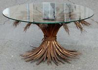 1970' Guéridon ou Table Basse Gerbe de Blé DLG YSL Métal Doré 44 x 80 cm