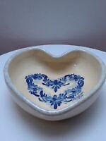 Small Pottery Heart Shape Blue White Pin Dish Bowl Signed 1992 Melinda
