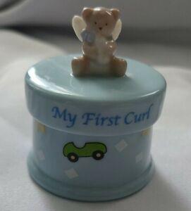 NWOT Russ Baby Boy Berrie Angel Bear My First Curl Keepsake Box