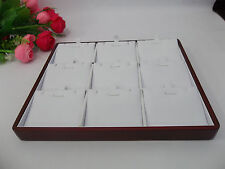 Wooden Jewelry Display Tray Rose wood White Faux Leather Necklace TC-17130527