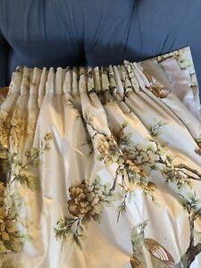 Long Pheasant Floral Handmade Blanket Interlined Curtains (pair 1 Of 2)