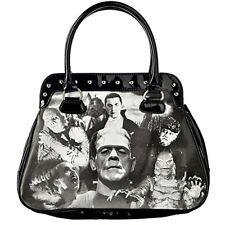 Rock Rebel Monster Collage Handbag Black Horror Halloween Goth UMHB25-BLKMONSTER