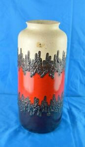 West German bay pottery Vase 70 40 white, brown and Red  with Fat Lava Glaze