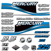Mercury 225 Four 4 Stroke Decal Kit Outboard Engine Graphic Motor Merc BLUE
