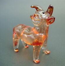 Glass COW, BULL, Tinted Red Brown Glass Ornament, Glass Animal Figure, Gift