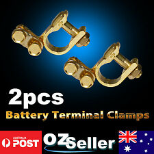 2X Auto Car Gold Battery Terminal Clamp Clips Brass Connector Durable Zinc Alloy