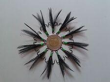 10pcs Bucktail Dressed Treble Hooks Size #6 Black/Green Flash color Lure-Making