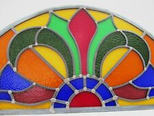 Fully Restored ARCHED STAINED GLASS WINDOW PANEL Overdoor Transom Fanlight ~79cm