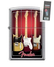 Zippo 2595 Fender Guitar Street Chrome Finish Full Size Lighter + FLINT PACK