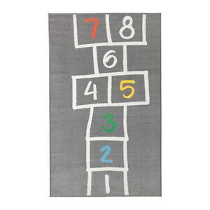 """NEW IKEA HEMMAHOS KIDS HOPSCOTCH RUG,GRAY 63 """" X 39 3/8 """""""