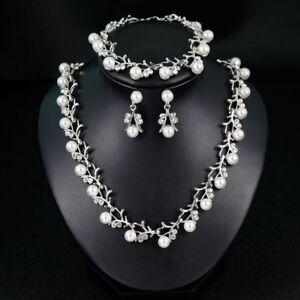 Crystal Pearl Flower Tassel Necklace Earrings Bracelet Set Wedding Jewelry UK