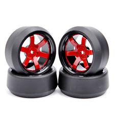 4Pcs 1:10 RC Hard Drift Racing Tire Wheel Rims 12mm Hex For HPI HSP Off-Road Car
