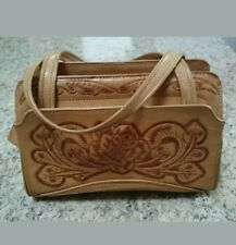 Corvi Vintage Made In Mexico Tooled Tan Leather Footed Handbag