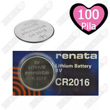 100 CR2016 Renata Pila 3V Batteria al Litio 90 mAh CR 2016