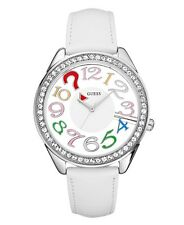 GUESS WHITE LEATHER,CRYSTALS,MULTI COLOR CLEARLY QUIZ CLEAR DIAL WATCH-U11066L1