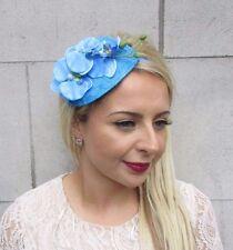 Sky Light Blue Orchid Flower Fascinator Teardrop Races Wedding Headband Vtg 3723