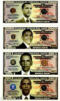 LOT 4 BILLETS FEDERAL USA OBAMA NOTE ETATS UNIS  $ DOLLARS NEUF UNC