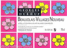 étiquette vin BEAUJOLAIS villages NOUVEAU peinture de VAVRO non datée wine label