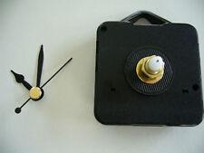 QUARTZ CLOCK MECHANISM LONG SPINDLE  30mm  BLACK HANDS