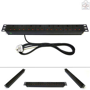 "19"" 8 Way UK Mains Power Distribution Strip Unit Extension PDU Data Rack Cabinet"