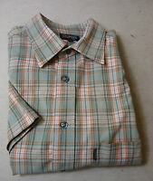 Cooles ESPRIT Kurzarm Hemd  grün -  grau - weiß -  orange - kariert  Gr. 50 Top