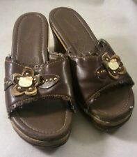 Girls Hello Kitty Slip On Heels Slings Shoes Size 12 Brown With Hardware