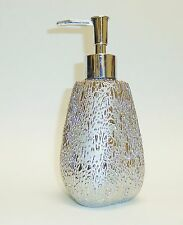 NEW CERAMIC SILVER METALLIC DRIP PATTERN SOAP,LOTION TRIANGLE PRISM DISPENSER