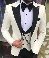 Designer Weiss Smoking Hochzeit Herrenanzug Party Weste Tailliert Slim Fit 52