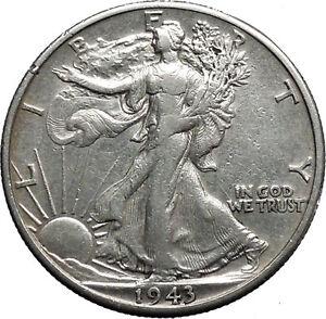 1943 WALKING LIBERTY Half Dollar Bald Eagle United States Silver Coin i44630