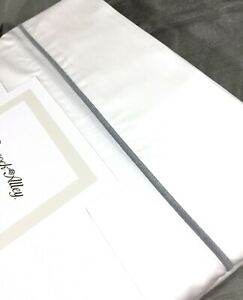 WHITE QUEEN 4P Sheet Set 100% Cotton Sateen 500TC w/Gray Trim Peacock Alley New