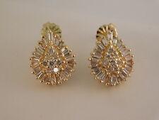DIAMOND 14K GOLD EARRINGS SIGNED H BAGUETTE PAVE GIFT BOX