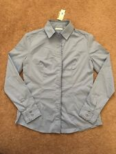 New York And Company Blue Button Down Long Sleeve Blouse Shirt Size Medium
