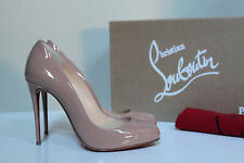 New 5.5 / 35.5 Christian Louboutin Dorissima Nude Patent Pointed Toe Pump Shoes