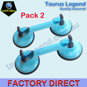 2x Aluminium Double Locking Suction Cup Glass Tile Fridge Lifter Remover Carrier