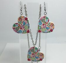 Necklace And Earrings Set Large Bright Candy Rainbow Heart Pendant Kitsch G312