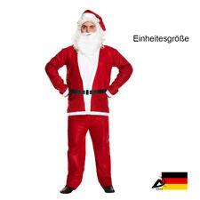 Unisex Weihnachtsmann Nikolaus Kostüm Komplettset Anzug Mütze Bart Einheitsgröße