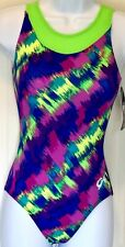 GK NEON BRUSHES ADULT X-SMALL GREEN TECHMESH GYMNASTIC DANCE TANK LEOTARD AXS