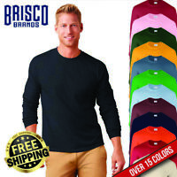 Brisco Heavy Cotton 5.2 oz Adult Plain Color Blank Long Sleeve T Shirt Tee Top