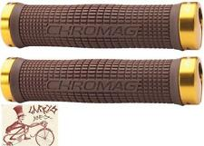 CHROMAG SQUAREWAVE BROWN W/GOLD CLAMPS MTB-HYBRID BICYCLE GRIPS