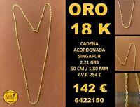 18K Cadena Acordonada 50 Cm NEW oro 18 Kilates 100%