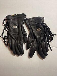 Genuine Harley Davidson Soft Leather Gloves with Fringe/lined. EUC !
